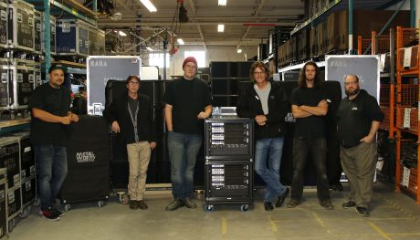 Metalworks Production Group crew with a few of their L-Acoustics systems (left to right): Chris Nandlal (Audio System Specialist), Mike Primeau (General Manager), Kory Vanderiviere (Audio Systems Specialist), Gil Moore (President & CEO), Cole McConnell (Audio Assistant), and Jeff Blain (Production Manager)