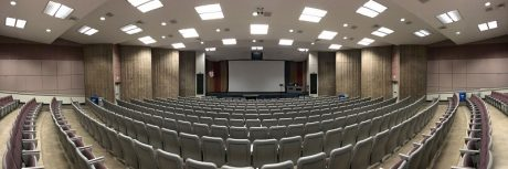 A wide-angle perspective of Neeb Hall, one of the largest lecture spaces on ASU's historic Tempe campus