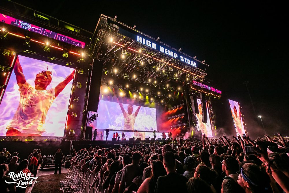 Rolling Loud's High Hemp Stage featured a full K2 system deployed by 3G Productions (photo credit: Leanne Leuterio / @Snap_LL / lleuteriophoto.com)