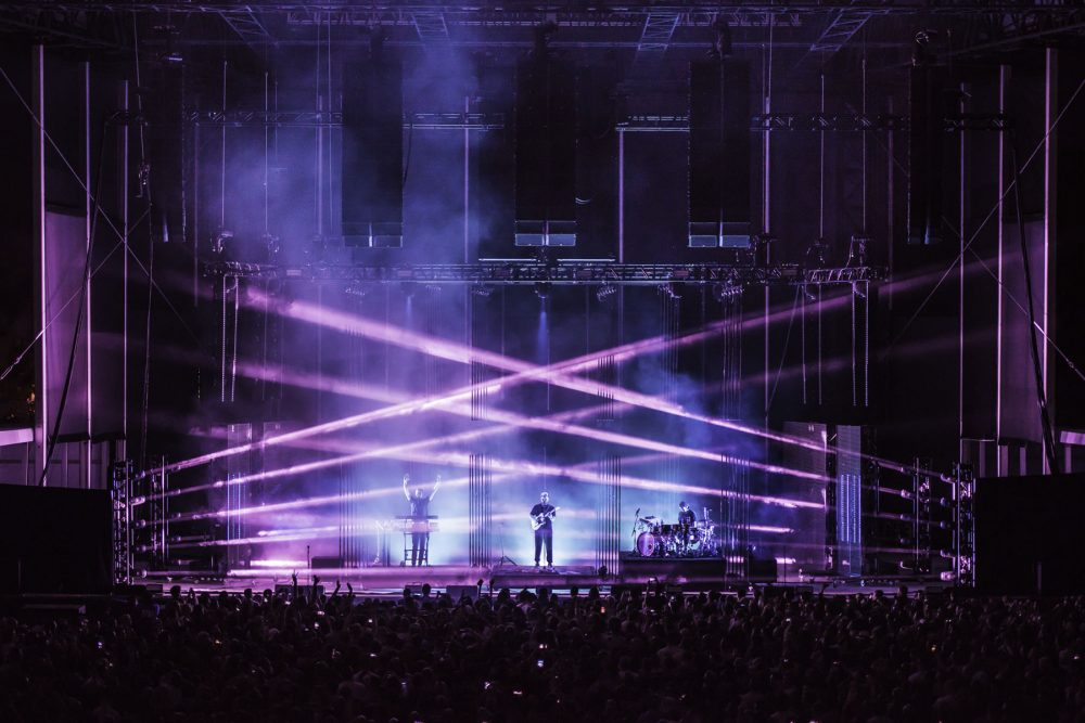 alt-J performing the world's first live 360° sound experience at Forest Hills Stadium in Queens, New York Photo by Drew Gurian