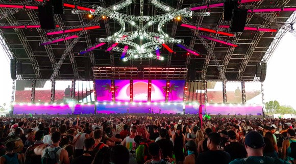 The EDM Stage inside Sahara Tent at Coachella 2018.