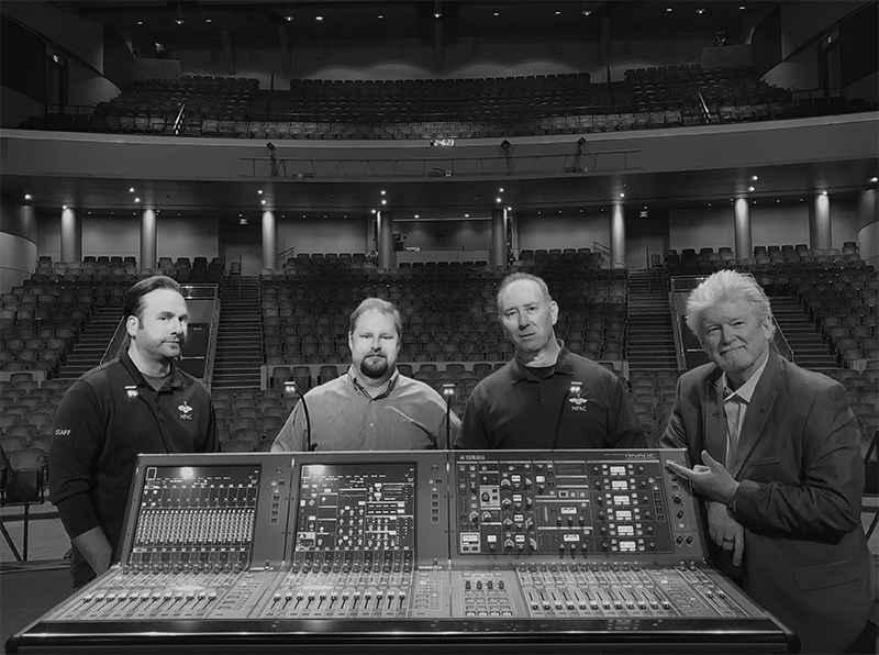 "The MPAC team with Yamaha console. From left, Nate Sipple, PM; Alex Craig, TD; ""Overkill Bill"" Young Sr. TD; and Allen Sanders, GM."