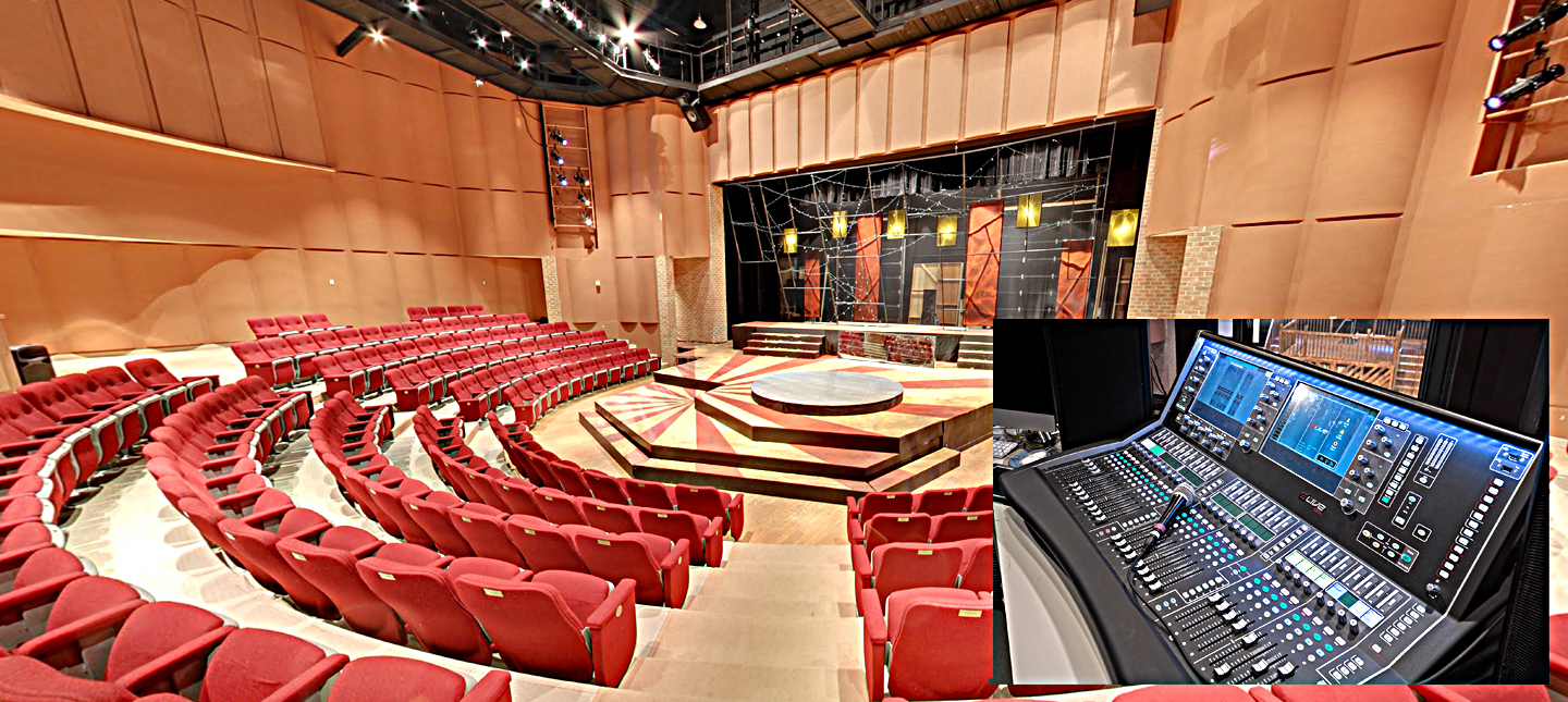Markel Auditorium features a convertible thrust stage and and Allen & Heath dLive S Class digital mixing system (shown in inset).