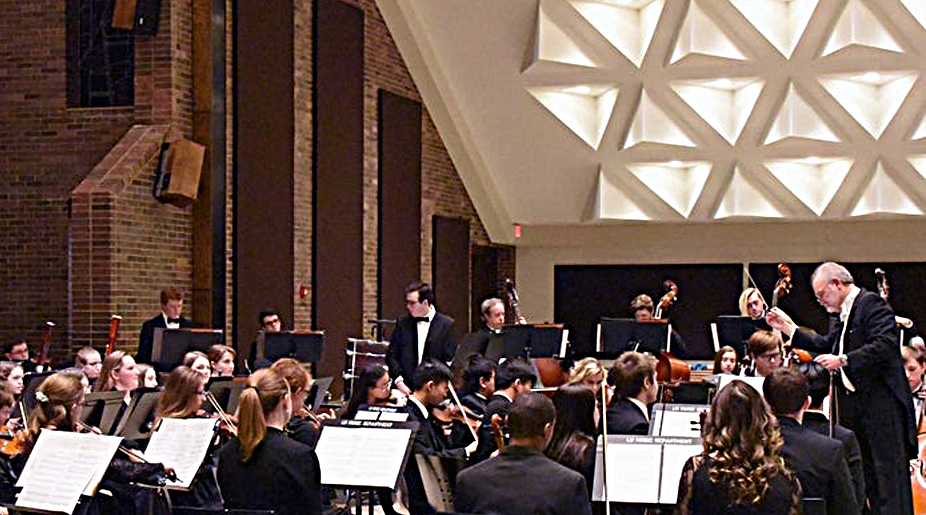 Metro Youth Symphony in the renovated Convocation Hall; photo by Lewis University Photo Club