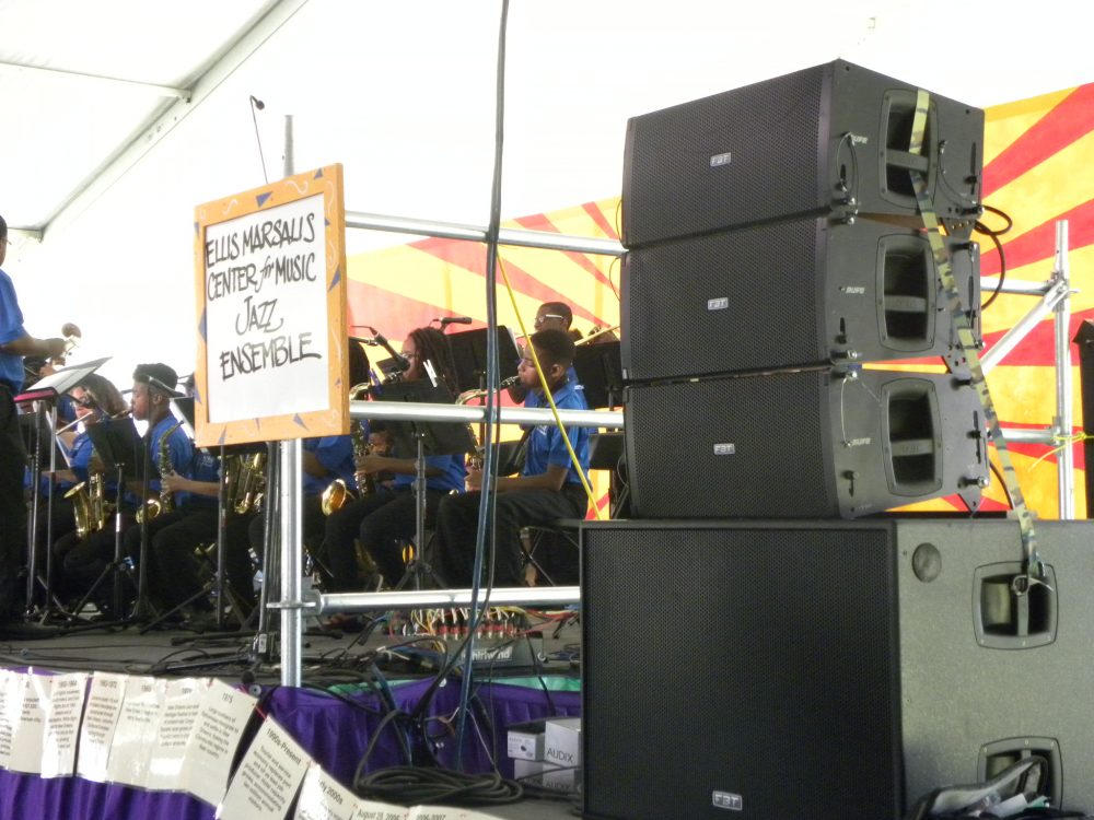 New Orleans Jazz & Heritage Festival speaker and stage set up