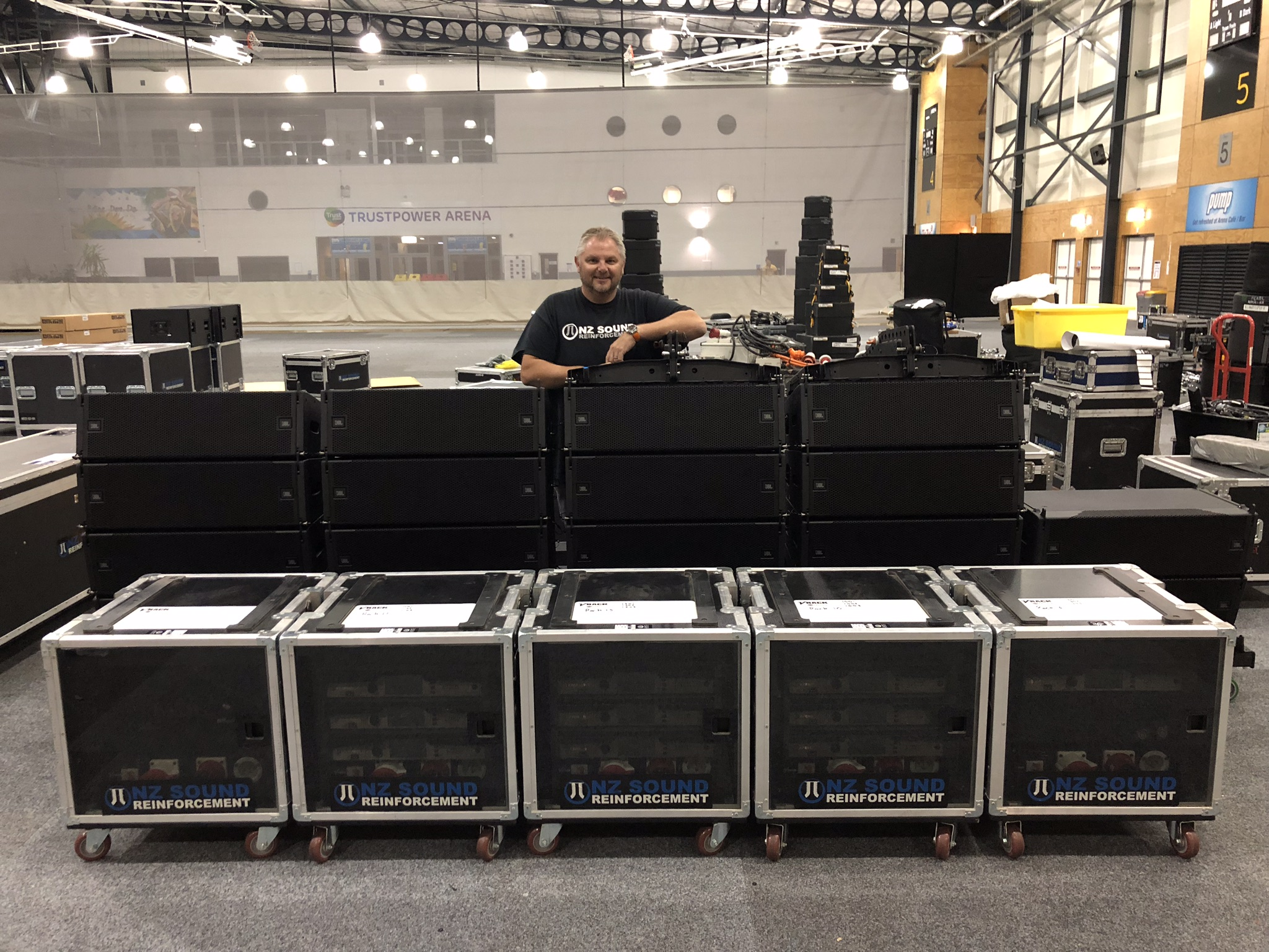 NZ Sound's Ray Ward with the latest addition to his inventory, JBL's compact VTX A8 line array.