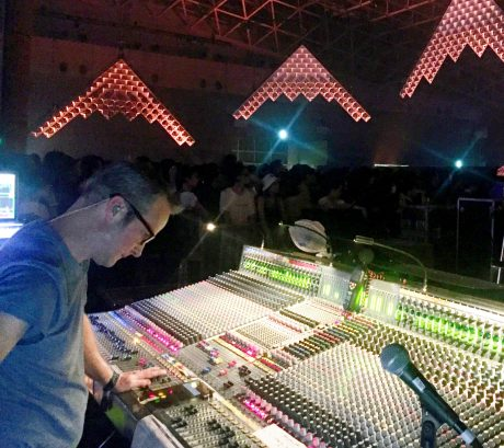 FOH engineer Philip J. Harvey uses Sensaphonics 3D AARO to preserve his hearing while mixing for My Bloody Valentine