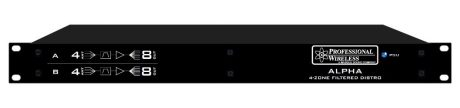 PWS 4x4 Quad Antenna Distro simplies using multiple Shure AD4Q receivers in Quadversity mode.