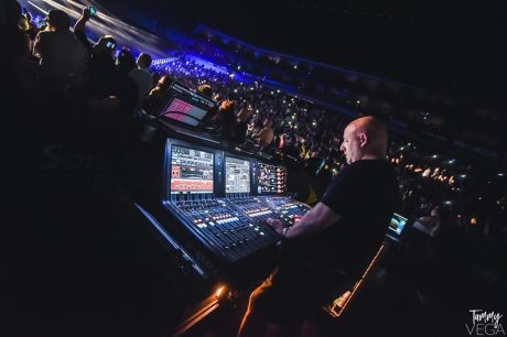 """Front of house engineer Mark Woodcock has used the Yamaha RIVAGE PM10 Digital Audio Console on several tours, and now, the current Poison """"Nothing But A Good Time"""" tour is his second gig using the new RIVAGE PM7 Digital Audio Console."""