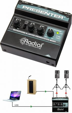 The Presenter is a compact mixer that combines a microphone preamp and a USB program input to create the ultimate interface for any presentation, from school lectures to corporate audio.