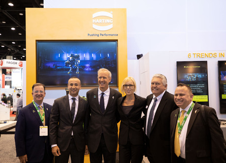 Illinois Governor Bruce Rauner, visiting HARTING's booth at the International Manufacturing Technology Show (IMTS) on Wednesday, applauded the company's contributions to the state and helping promote a local culture of manufacturing.