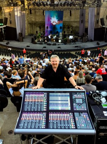 Mark Kennedy at FOH while touring with Robert Plant