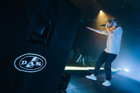Mike Shinoda performing with DAS loudspeakers. Photo credit: Chady Awad.