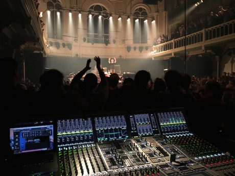 ils Frahm on stage at the concert hall Paradiso in Amsterdam, in front the FOH mixing console AURUS platinum (photo: Terence Goodchild