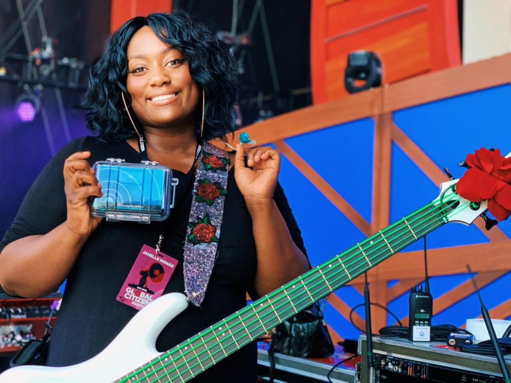 Janelle Monae bassist Téja at sound check with her Sensaphonics 3MAX custom in-ear monitors with soft silicone earpieces.