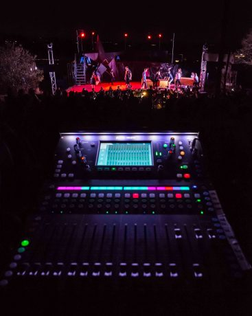 Allen and Heath's SQ-5 at FOH during the 2018 Opera NEO Summer Opera Festival.
