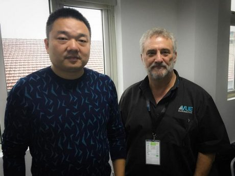 Mr. Gu (left), President of the newly expanded VUE China, and Ken Berger, VUE CEO, in Jiashan, China, March, 2018.