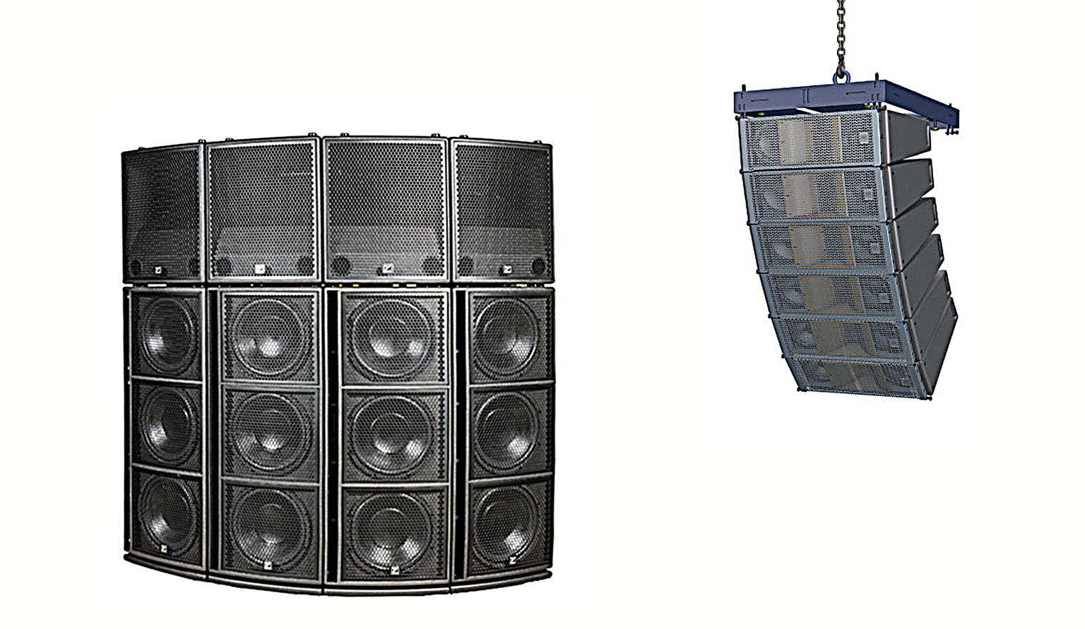 Yorkville Synergy (left) and HK Audio Cosmo line array at right