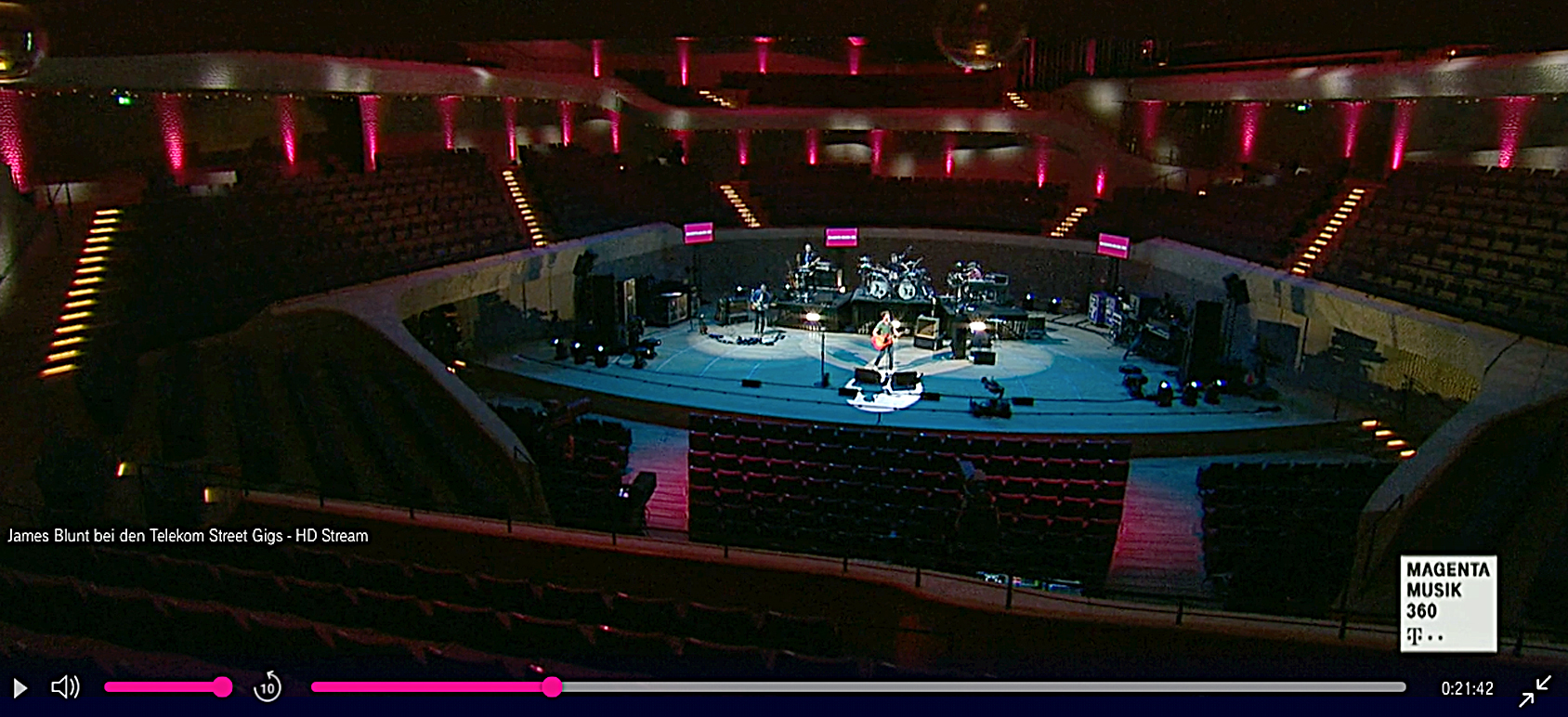 James Blunt continued with the cancelled concert at Hamburg's Elbphilharmonie, performing to an empty hall and streaming the concert to the public.