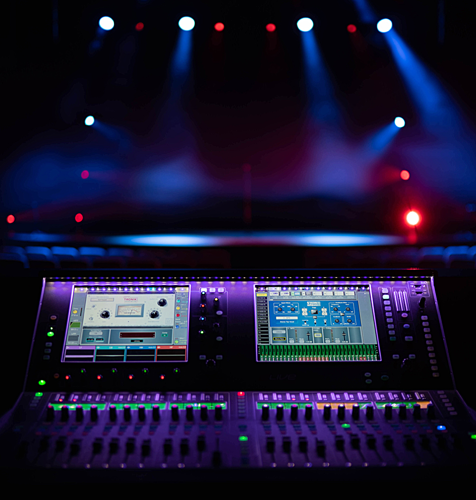 The Allen & Heath dLive C3500 in Southside Church's main auditorium with the stage in view.