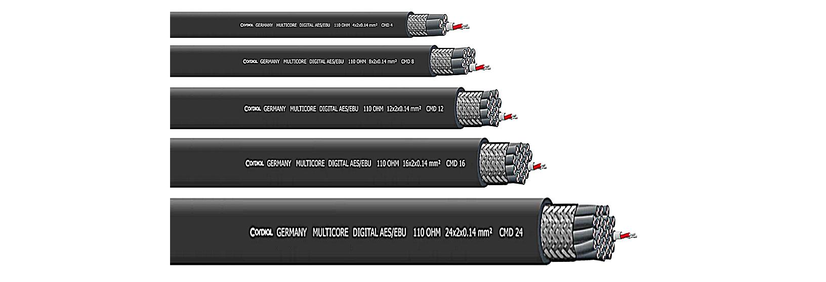 Cordial's CMD 4, CMD8, CMD 12, CMD 16 and CMD 24 DMX-AES/EBU multicore cables.