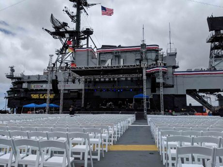 The stage was fully equipped with dBTechnologies, and at Front of House Bishop was able to utilize the new beta Aurora Net software to monitor and control the boxes in real time.