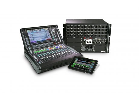 A dLive Wings system, comprising dLive C1500 surface, DM32 MixRack and tablet control