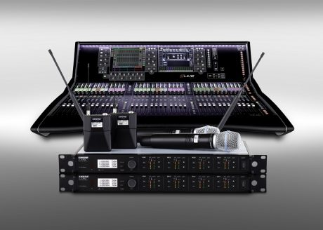 An Allen & Heath S7000 surface with Shure wireless systems