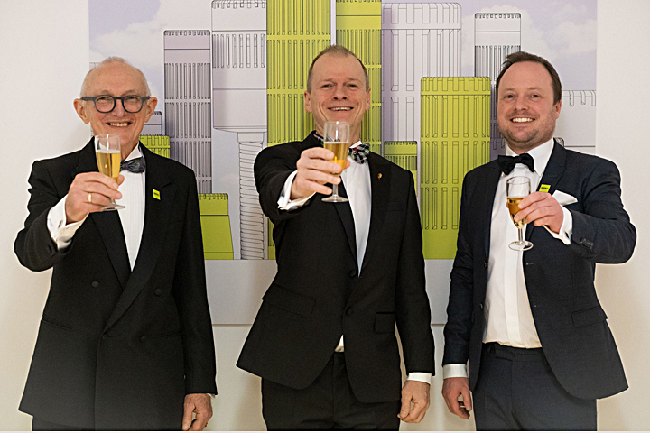 Left-to-right: DPA Microphones co-founder Jens-Jørn Stokholm, CEO Kalle Hvidt Nielsen and R&D manager Ole Moesmann pose in honor of the company's Academy of Motion Picture Arts and Sciences' Technical Achievement Award.