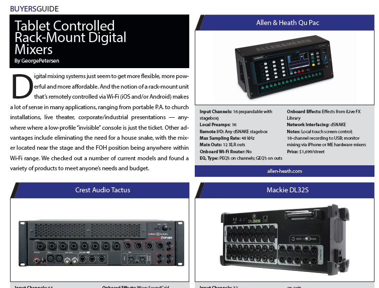 Tablet Controlled Rack-Mount Digital Mixers « FOH   Front of House