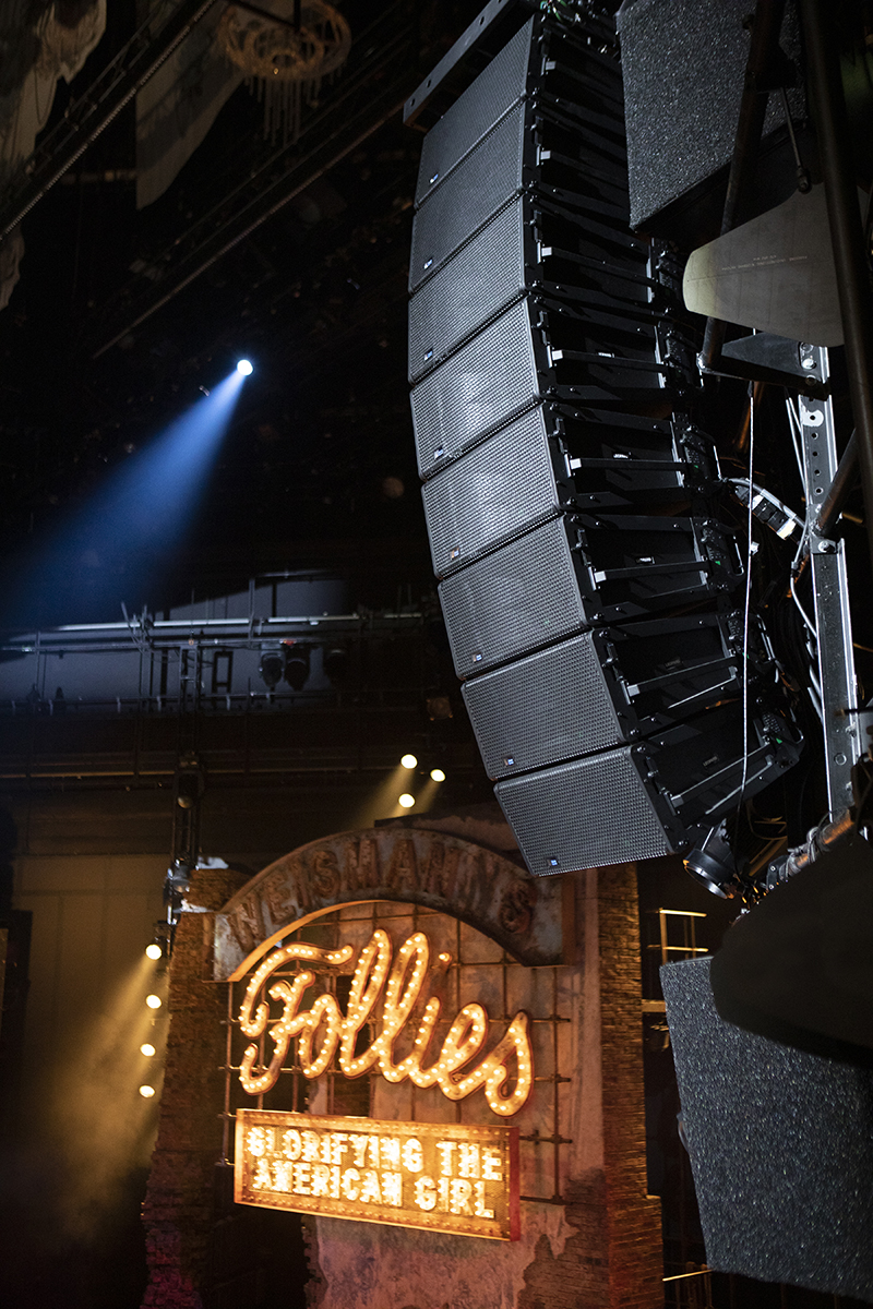 The Meyer Sound audio rig highlighted on the set of Follies at The National Theatre in London. Photo by Ellie Kurttz