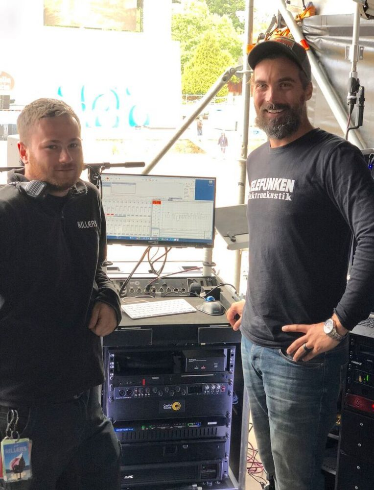 L to R: Daniel Fathers and Kenny Kaiser, respectively system and FOH engineers for 'The Killers'