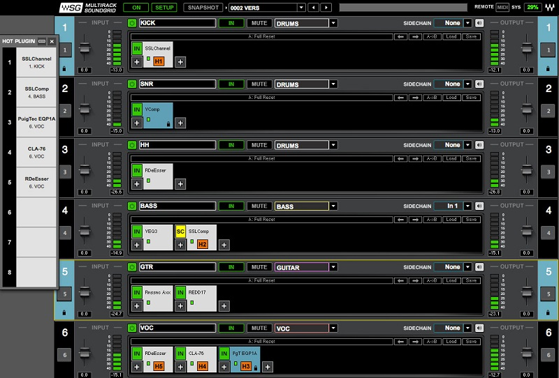 Waves MultiRack SoundGrid® user interface