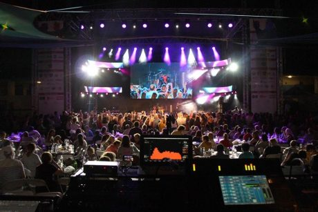 The system was anchored by 2 clusters of 8x al-8 line array elements, 4x al-4a per side as side fills, 8x hs-28 ground-stacked dual-18 ACM subwoofers, and 12x hm-112s as stage monitors – all driven by 4x v-6, and 6x v-4 VUEDrive system engines