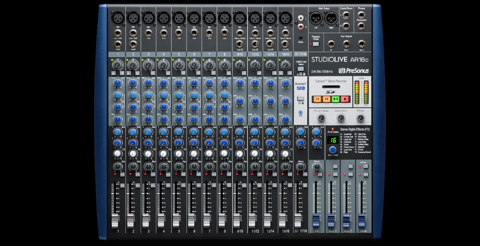 StudioLive AR16c (shown) delivers 12 mic preamps and 16 balanced line inputs for 18x4 recording/playback