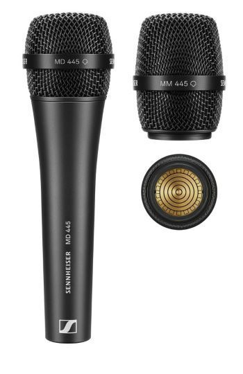 The wired supercardioid MD 445 vocal microphone and the MM 445 mic head for use with Sennheiser wireless transmitters.