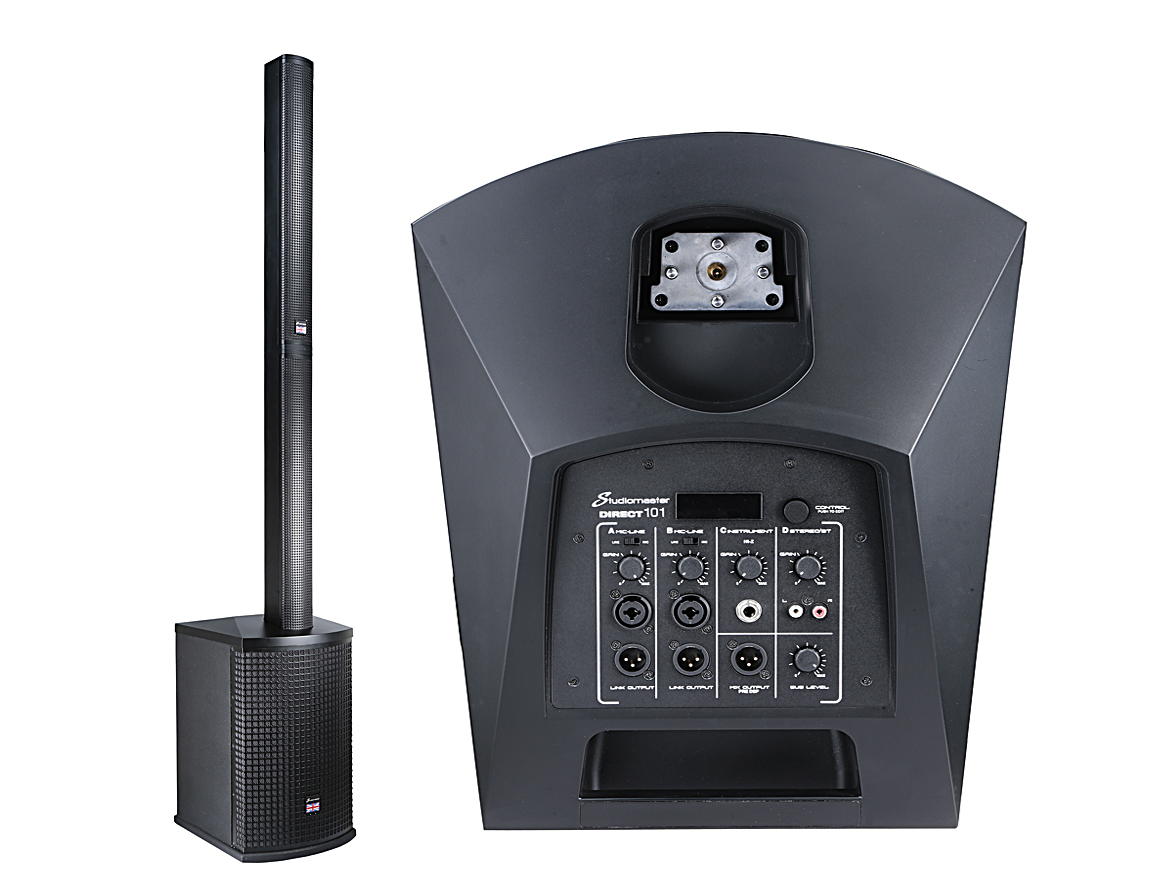 Studiomaster's DIRECT Compact Vertical Array System is offered with 10- or 12-inch woofers