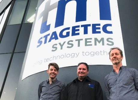 Treva Head and Mark Lownds of tm stagetec systems with Out Board's Dave Haydon