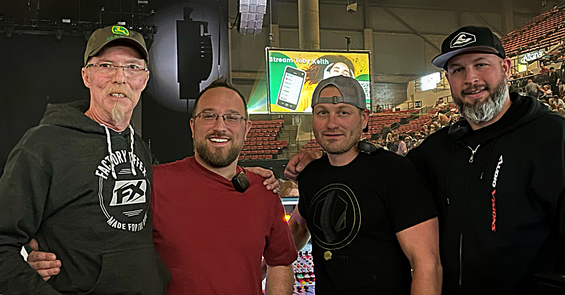 The FOH crew (L-R): FOH engineer Dirk Durham, FOH systems tech Greg Burns and Audio Visions' Elliott Nielsen and Jasper Goforth. (Micah Stryker, also from the Audio Visions is not pictured).