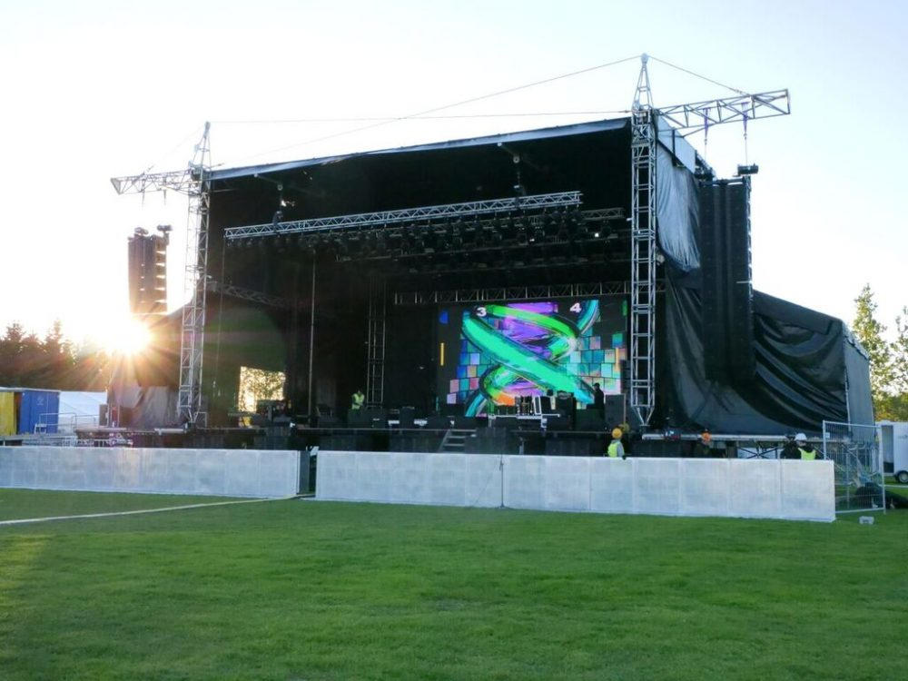 Stage view of Iceland's Summer Solstice music festival