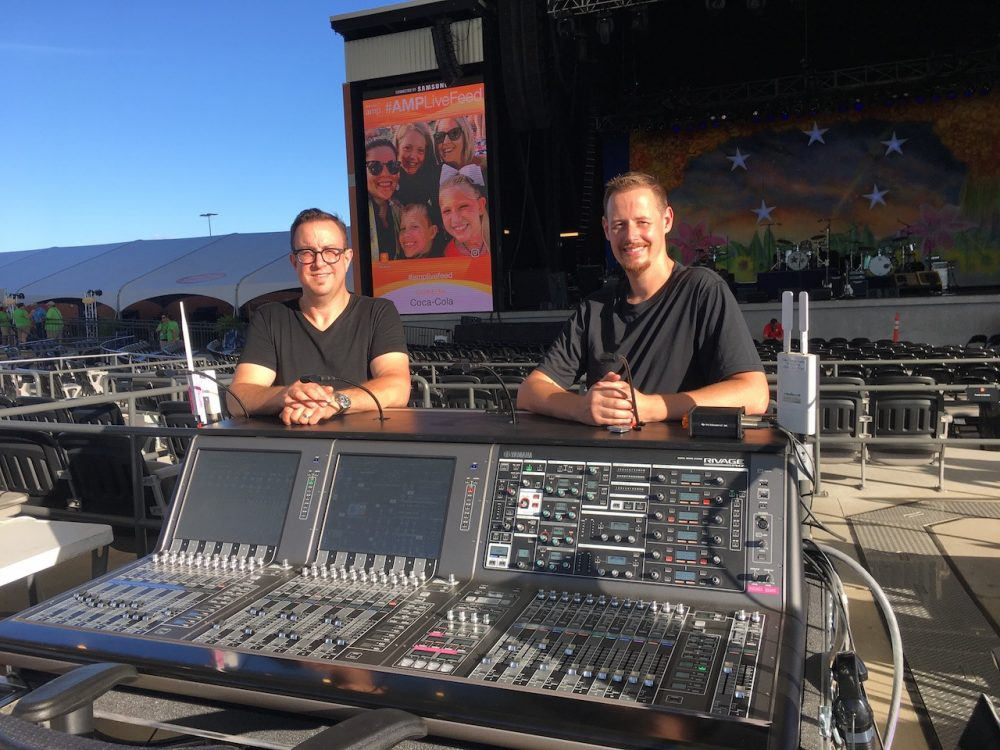 Front of house engineer Brian Bavido and monitor engineer Brad Galvin at Yamaha PM7 front of house.